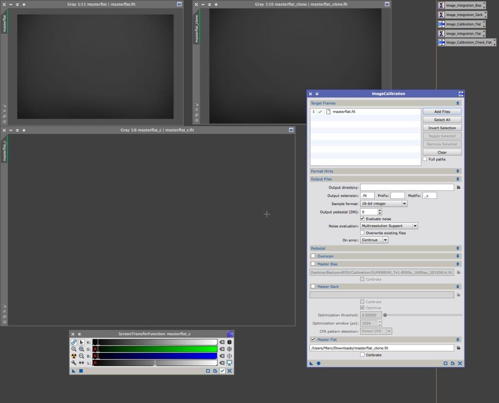 Controle van de Master Flat, settings en resultaat.
