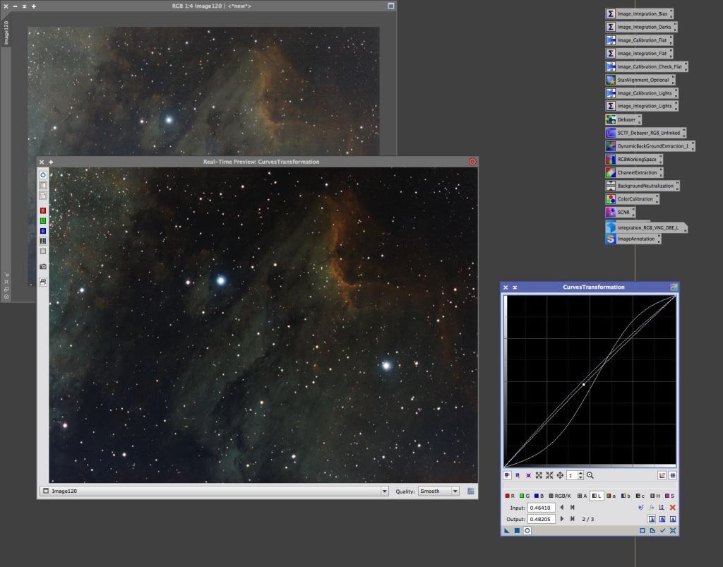 CurvesTransformation preview voor toepassing op het image.