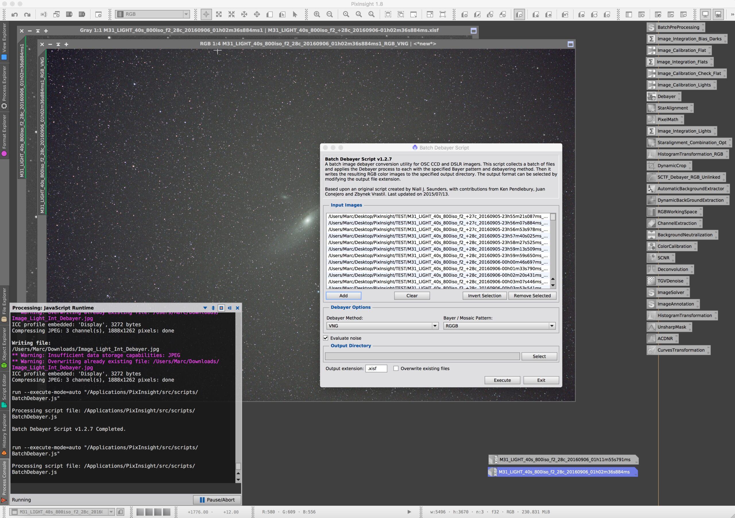 Debayering van het geïntegreerde light frame met SCTF functie en RGB unlinked.