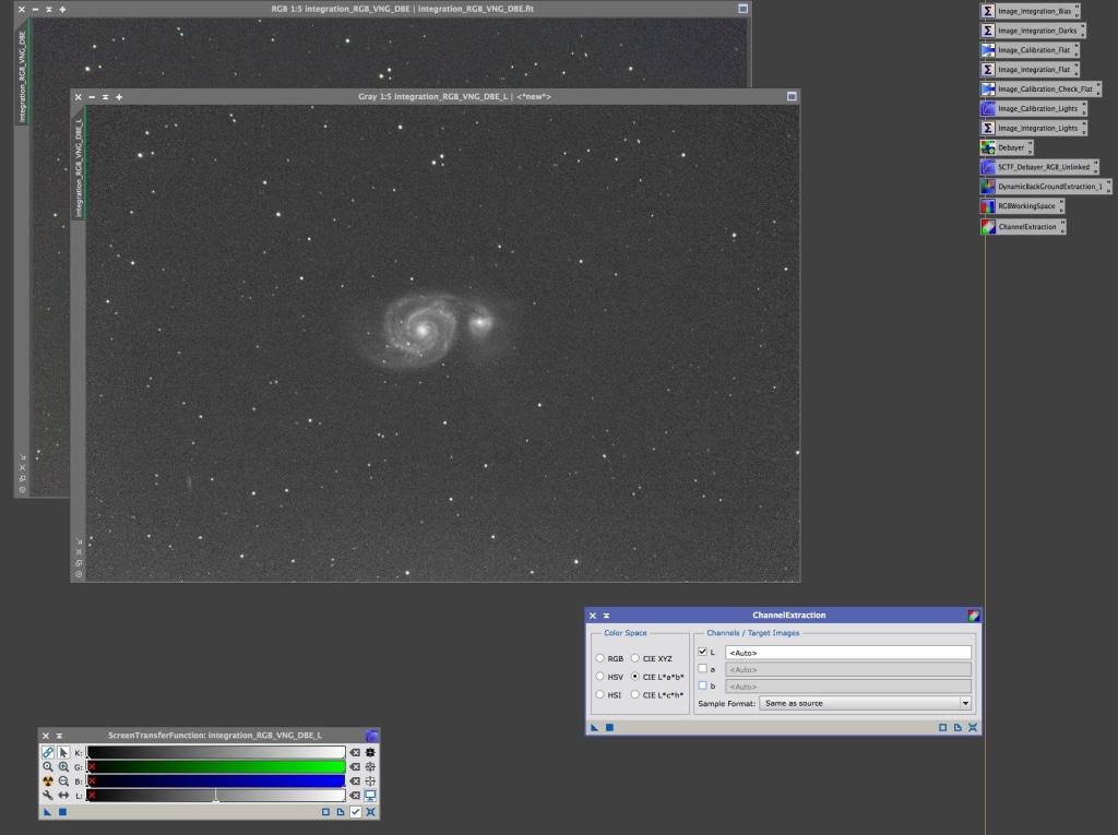 Het Luminance image voor verdere bewerking geschikt.