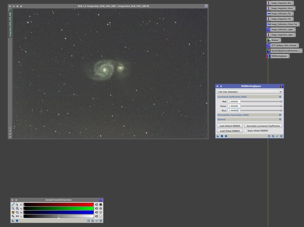 Met RGB waardes gecorrigeerd kunnen we het Luminance image extraheren.