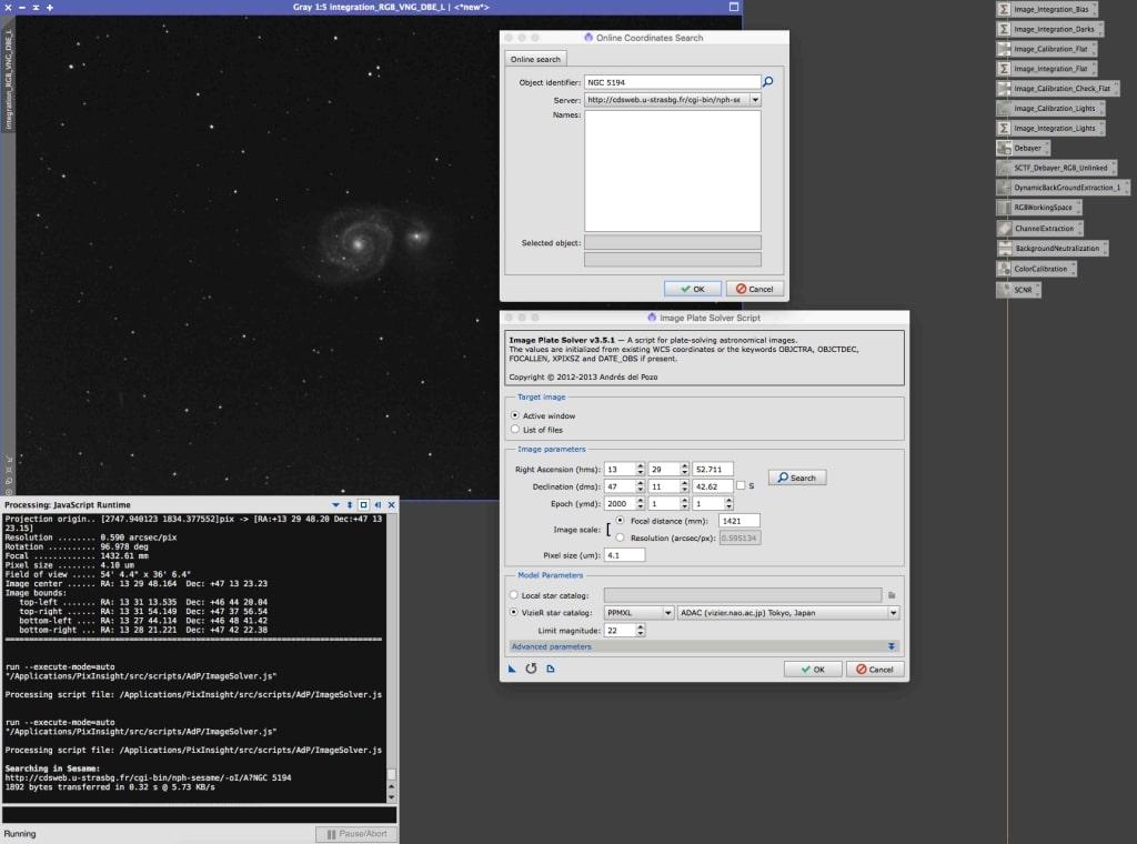 Image solver menu en settings.