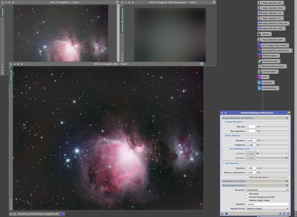 AutomaticBackgroundExtraction resultaat inclusief voor en geëxtraheerde achtergrond.