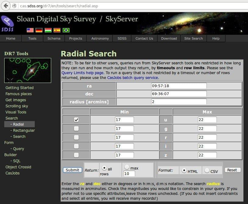 SDSS Zoekscherm