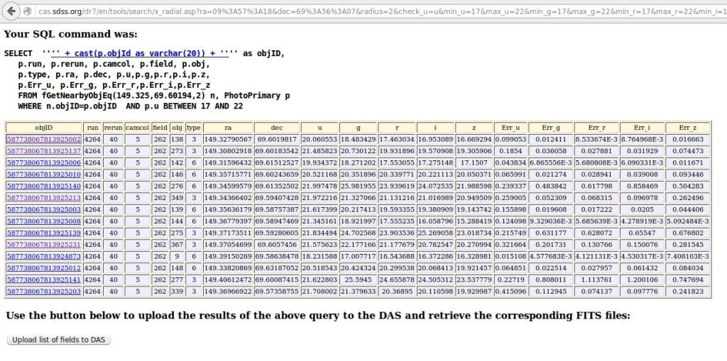 Het resultaat van de zoek opdracht met op de hoogste regel het gezochte stelsel.