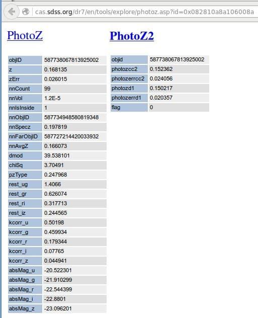 """Het PhotoZ scherm met de """"dmod"""" waarde van 39.538101"""
