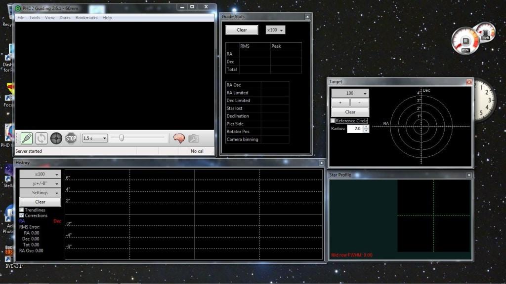 Overzicht PHD2 schermen op buroblad.