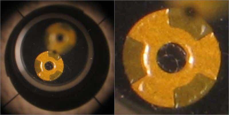 Eindsituatie door de offset pupil van de collimator