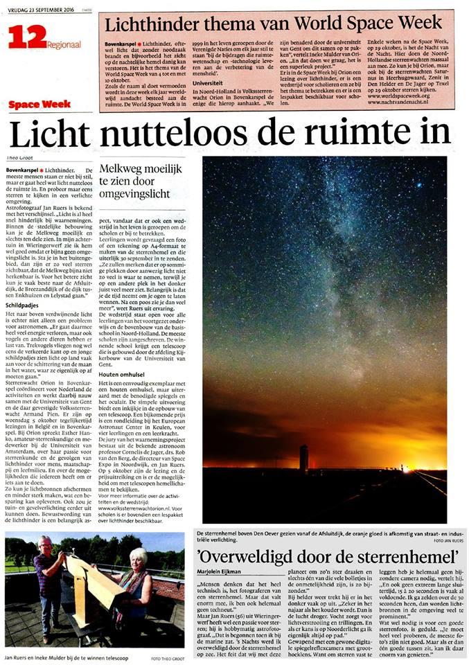 En vandaag een pagina groot artikel over lichthinder en het evenement op 5 oktober.krant-bovenkarspe