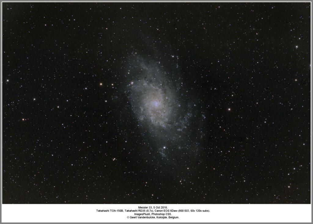 Hierbij een opname van 5 oktober 2016, Messier 33. 60 maal 2 minuten belicht (+darks +bias). Verdere