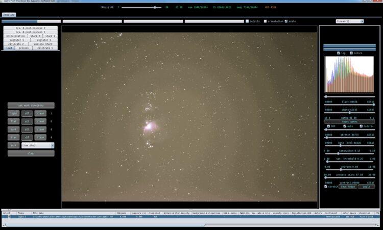 Hier een screenshot van de stretch op de originele TIFF van @joswennmacker-nl met het histogram erbi
