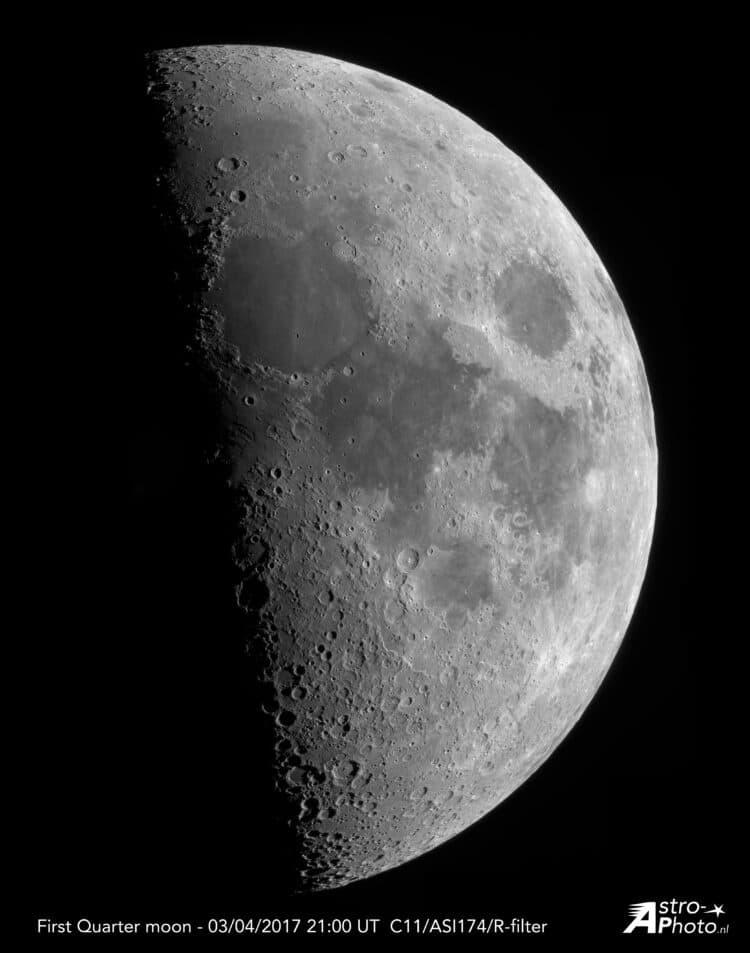 Gisteren een mooie maan kunnen schieten met mijn C11 en ASI174MM. Dit is een mozaïek van 36 opnamen