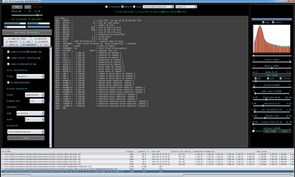 Astro Pixel Processor M51 4x90sec stack statistics