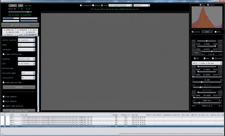 Nu gaan we kijken naar een masterdark, gemaak uit enkel de 5 darks van 60 seconden; Het eerste plaat