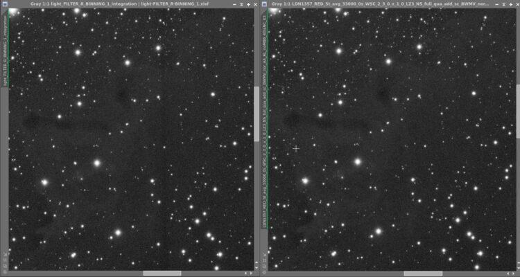 110 x 300 seconden Rood filter van een zwak, donker object. Op een enkele sub is niets te zien van L