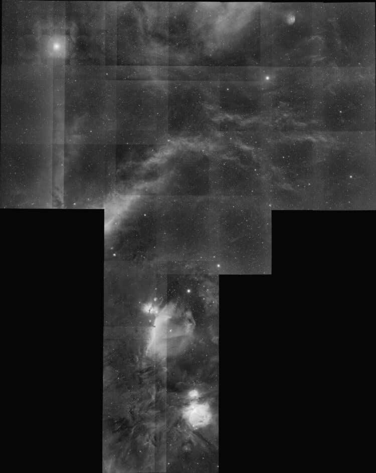 De registratie van deze 30 panelen ( 6×600 sec per paneel) gaat prima (RMS: 0.05 pixel). Deze w