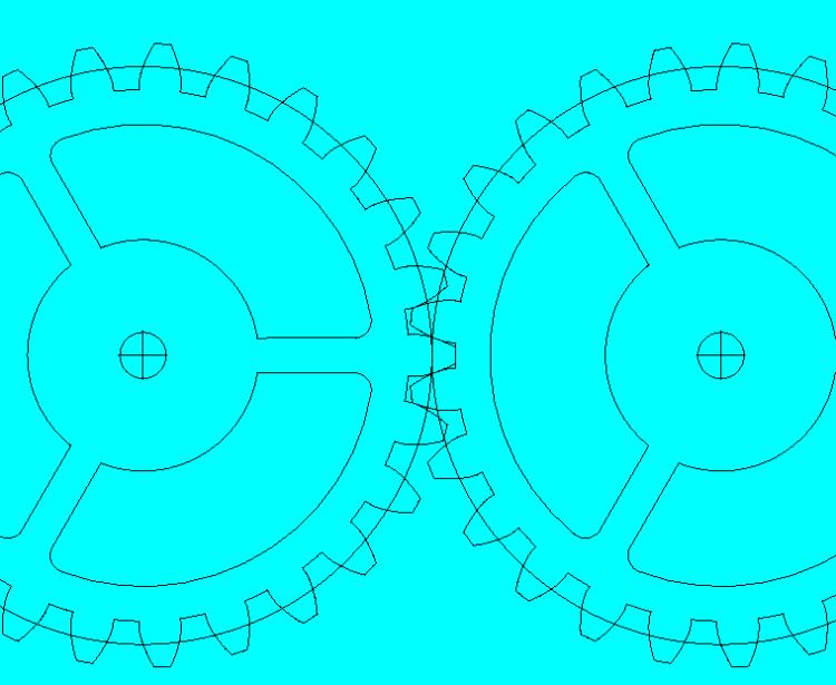 Dit zijn alle tandwielen (althans, hun pitch diameter) samengevoegd op het frame. Dit was nodig om a