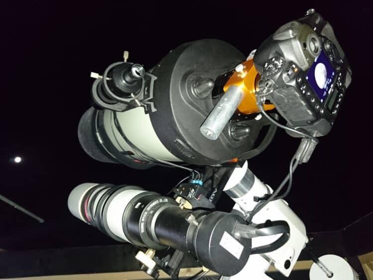Opstelling met Celestron 9.25″ EdgeHD en 500mm/80mm volgkijker met een Lacerta MGEN 2 DSC_1551