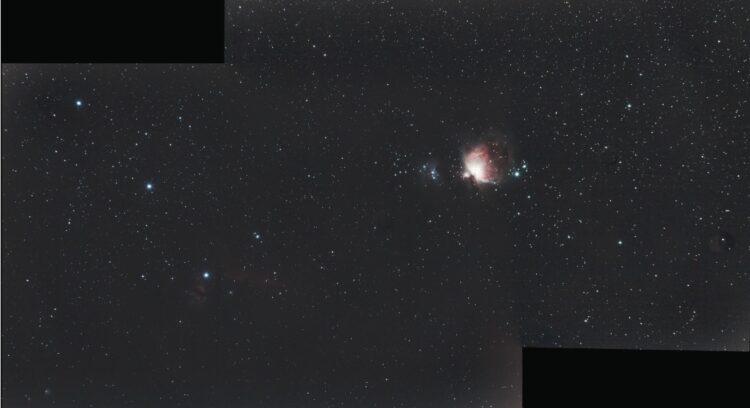 Mijn eerste mozaiek met Astro Pixel Processor van het gebied rond de gordel van Orion, waar naast Al