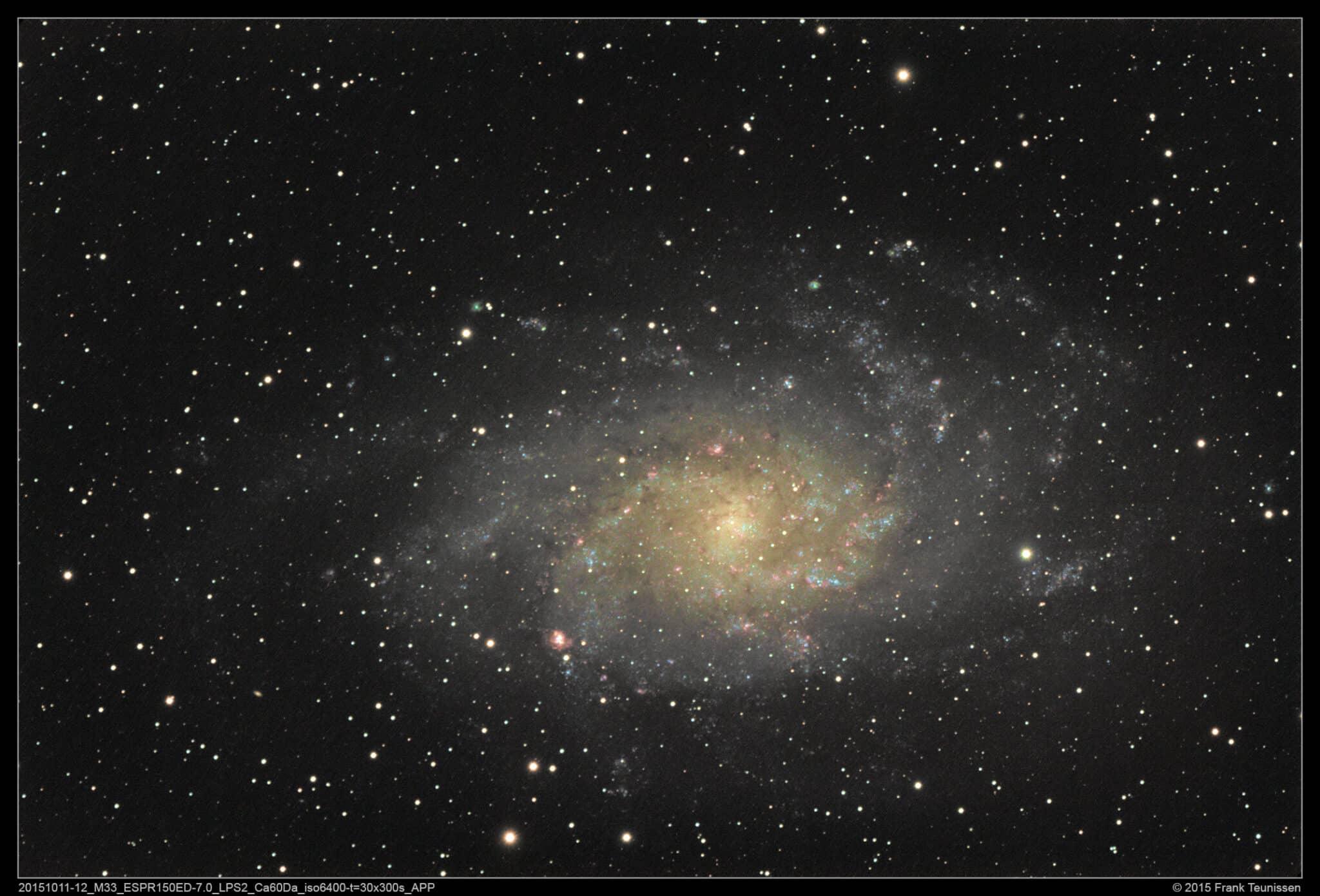 Onlangs opname van M33 van 11 okt 2015 met APP bewerkt. Oorspronkelijke bewerking in DSS (de wat erg
