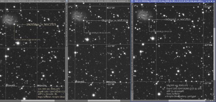 En dat is drie. De lightcurve is op weg naar beneden en de speciale pagina voor SN2018gv opnamen is