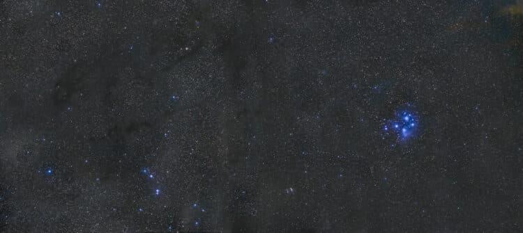 Ik heb eergisteren geprobeerd om een panorama0view vanaf de Taurus Moleculaire wolk tot voorbij de P