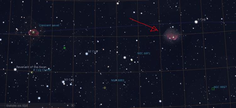 Gisteren was ik in Stellarium opzoek naar een nieuw object en toen vond ik een neveltje in de buurt