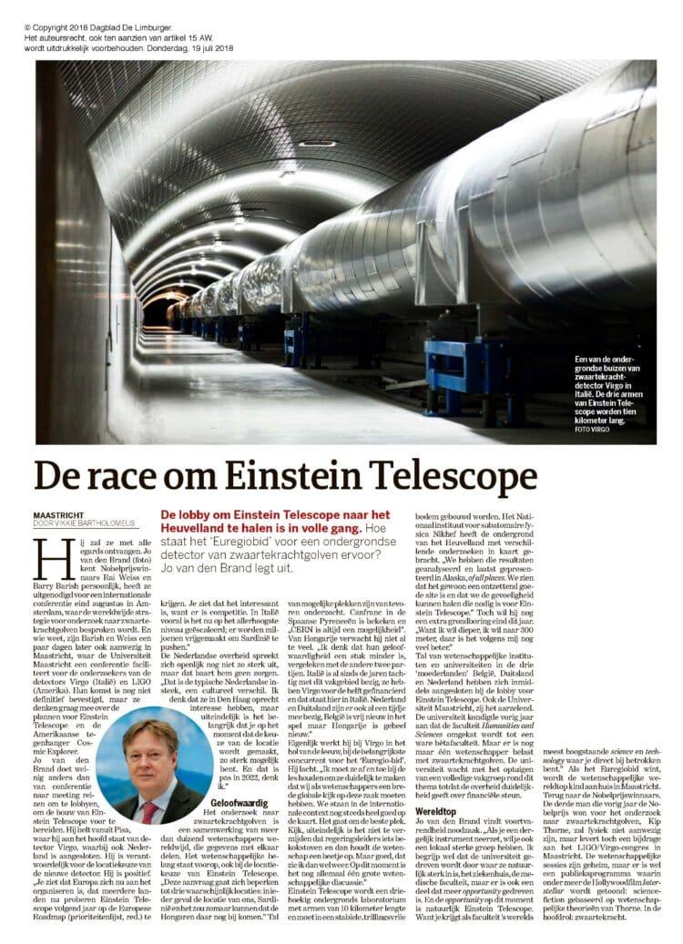 """De race om de Einstein """"telescope"""".DDL-20180719-02006HE009"""