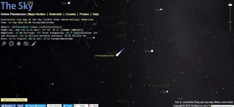 Morgenavond is het zover, de afstand tussen de komeet en de aarde is dan het kleinst. Tevens is de v