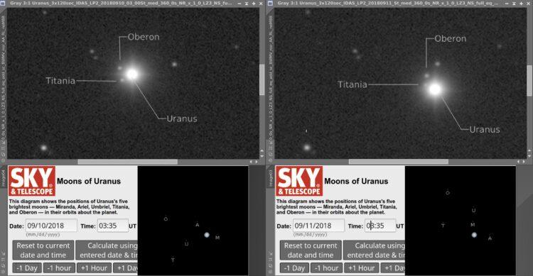 De Esprit 100 is met 550 mm brandpuntsafstand niet de aangewezen telescoop om manen van Uranus te fo