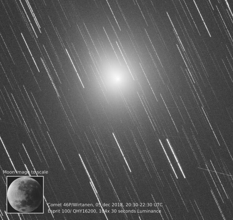 5 december, 2018: Met de maan als vergelijkings object is de 46P/Wirtanen coma afmeting mooi zichtba