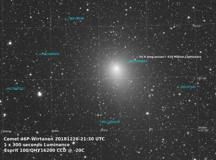 Update 26 december 2018. Een serie van 134 x 30 seconden Luminance subs opgenomen en 1 x300 seconden