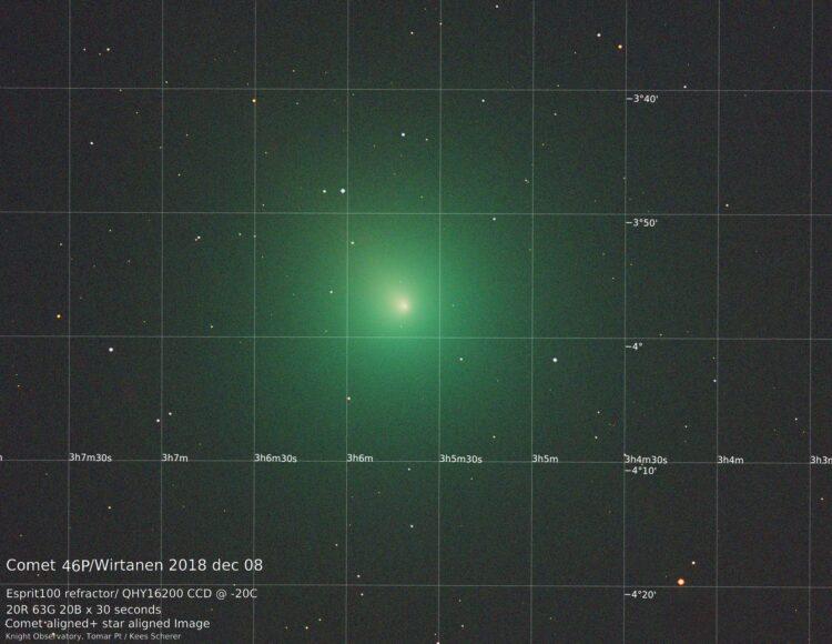 Update 8 december vervolg: Komeet + Sterachtergrondcombinatie. Op zich geen enkel probleem om de sta