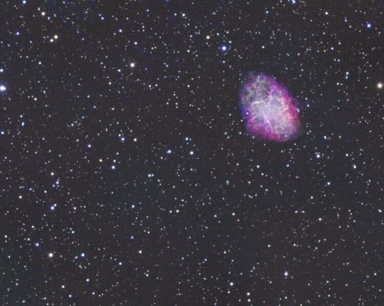 Even een Bambi object om er weer in te komen. Messier 1 genomen met de TS 130/910 mm, ASI 1600 mm &#