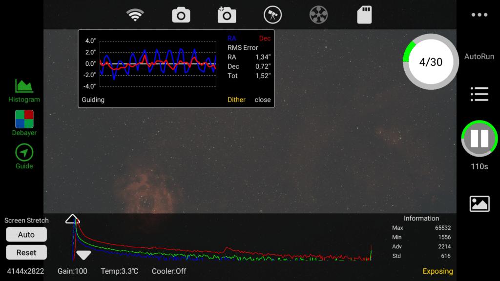 Hierbij nog wat screenshots vd ASIAIR app waarmee zowel de montering als de guidecam en main camera