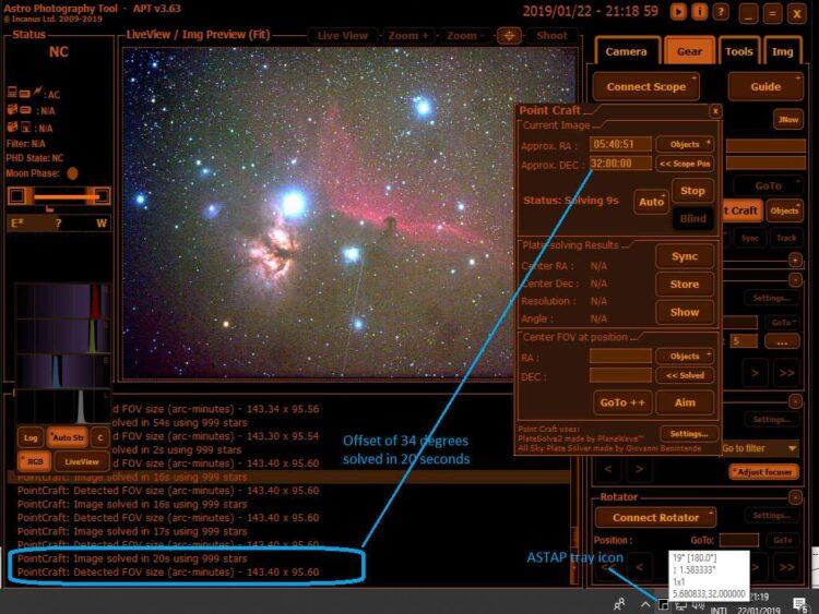 Blind solving met het ASTAP programma De plate solver/astrometric solver in het ASTAP freeware progr