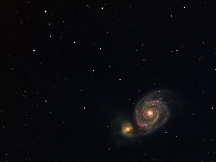 Eergisteren nog wat data bijgeschoten van M51, wederom unguided, in totaal nu 30x 120s lum, Ha, O-ii