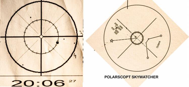 als ik de poolster wil plaatsen op de kruisdraden van de polarscope van de Skywatcher EQ6-R, dan zie