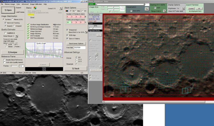 Scherpstellen gaat nu goed met de focusmotor via FWHM in Sharpcap in Windows op een ster in de buurt