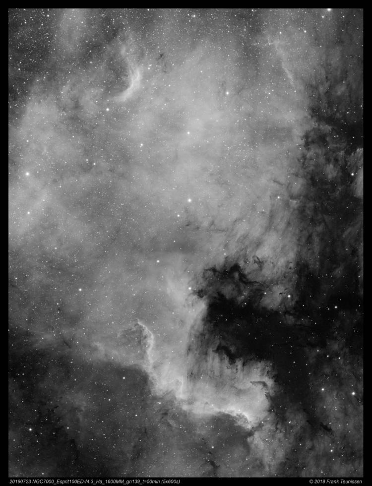 Noord Amerika nevel (NGC7000), 23 juli 2019 SetUp : Esprit 100ED + TS 0,79x red./flattener f/4.3 op