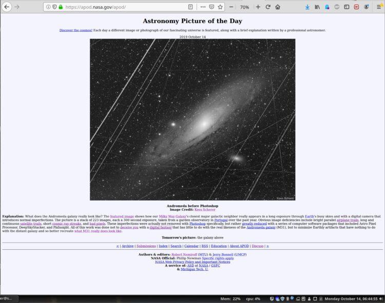 """Zowaar een APOD, op de NASA APOD pagina is een """"mouse over"""" waarbij de schone versie ook"""