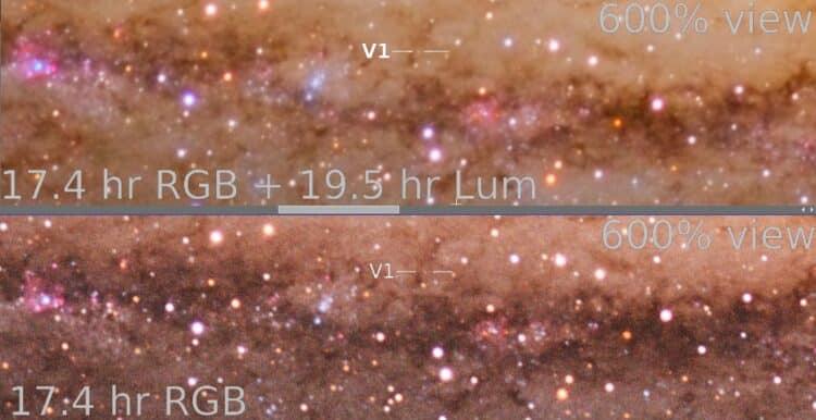 Een voorbeeld n.a.v. de vraag van Nicolàs m.b.t. het gebruik van Luminance, zie de verschillen in m