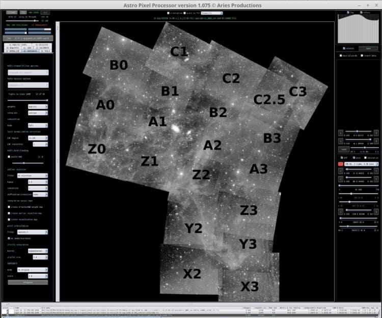 583200 seconden (162 uur) Luminance integratie inmiddels voor het IFN mozaiek. Dit is een APP sche