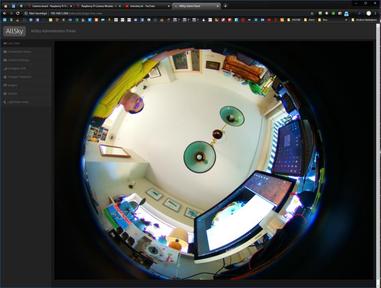 Ondertussen ben ik de AllSky software geschikt aan het maken om ook met de nieuwe HQ camera om te ku