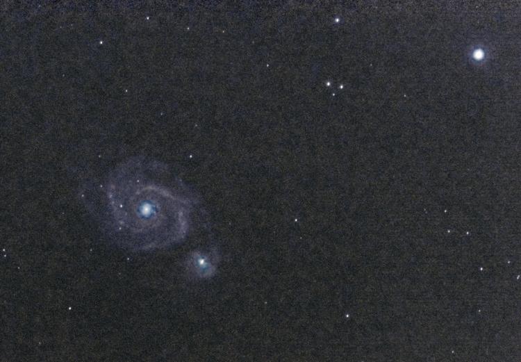 Tweede resultaat in het donker, geschoten met de TS 80 / 480 mm APO, de RPi camera op de CGEM mount.