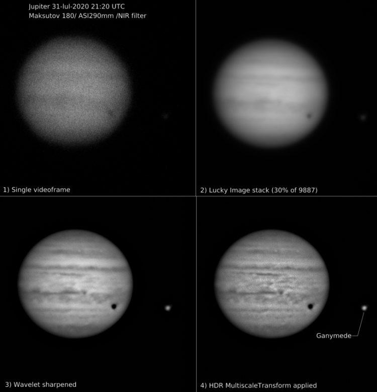 Maksutov 180/2700 / ASI 290mm/ Proplanet 642 bp IR filter. Opgenomen in 90 seconden: 9887 frames met