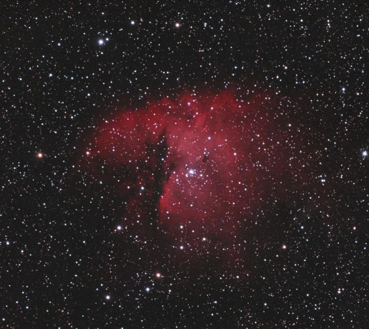 NGC 281 Packmannevel in het sterrenbeeld Cassiopeia, de H-alpha is nu bijgevoegd. Totaal 95 x 180 se