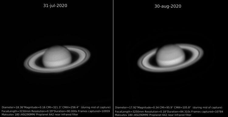Mooi is het verschil in schaduw van de planeet op de ringen te zien. En dat al na een maand.Saturn-j