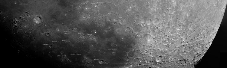 27 september 2020, 19x 2000 opname, 19 x 200 stack. Annotaties voor de bekendere kraters, zeeen en l