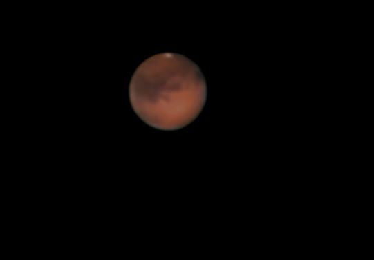 Op 22 oktober heb ik deze foto van Mars gemaakt. Moest tot ca 0,00 uur wachten tot hij achter de ber